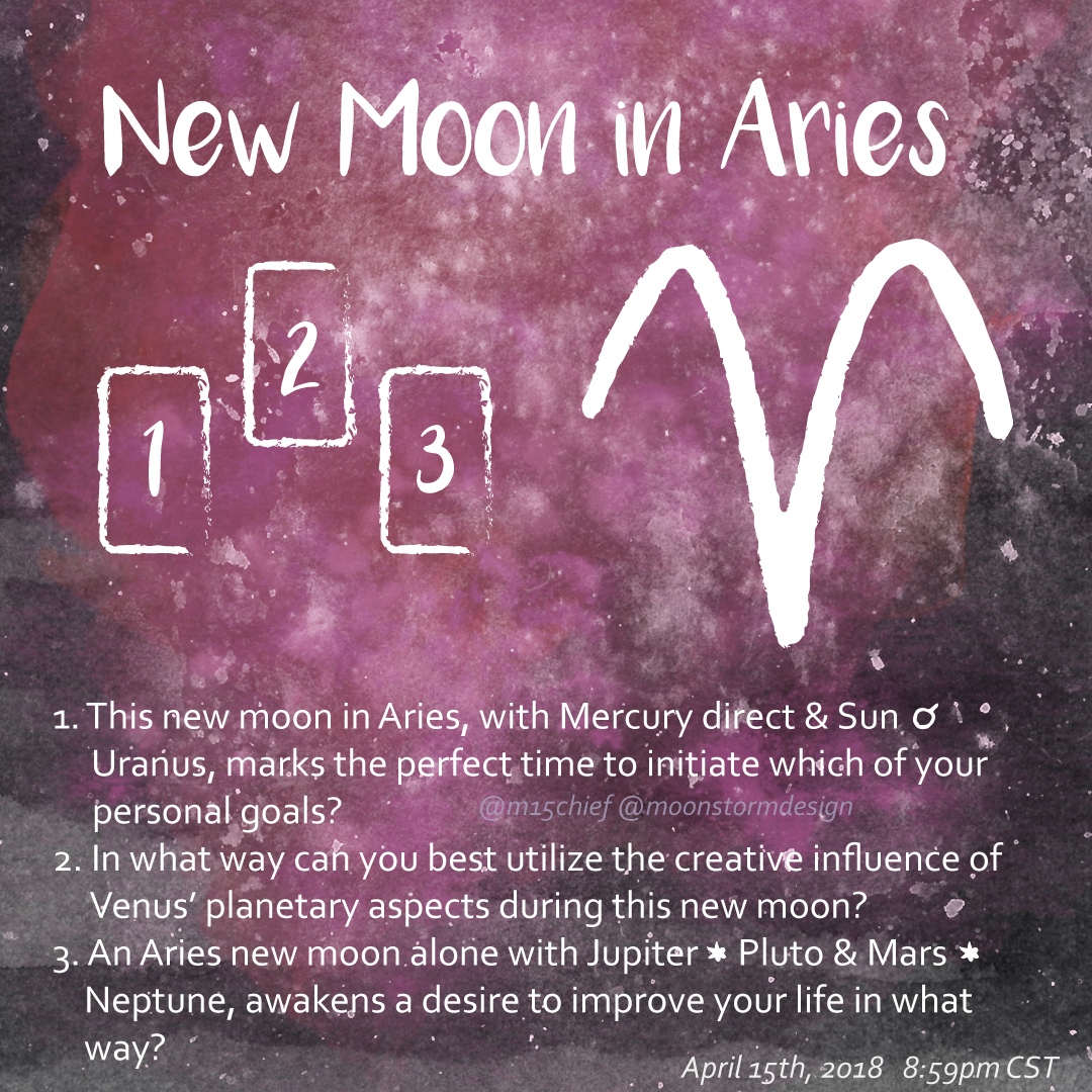 New moon in Aries tarot spread with 3 questions. 1. This new moon in Aries, with Mercury direct & Sun Uranus, marks the perfect time to initiate which of your personal goals? 2. In what way can you best utilize the creative influence of Venus' planetary aspects during this new moon? 3. An Aries new moon alone with Jupiter Pluto & Mars sextile Neptune, awakens a desire to improve your life in what way?