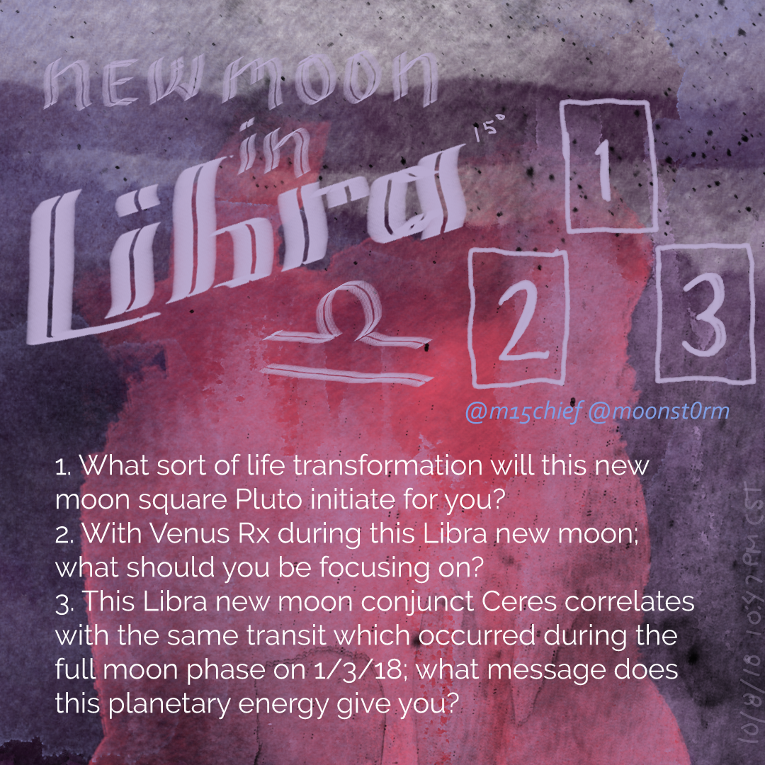 New Moon in Libra tarot spread with 3 questions. 1. What sort of life transformation will this new moon square Pluto initiate for you? 2. With Venus Rx during this Libra new moon; what should you be focusing on? 3. This Libra new moon conjunct Ceres correlates with the same transit which occurred during the full moon phase on 1/3/18; what message does this planetary energy give you?