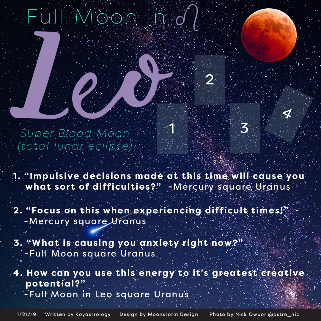 Full Moon in leo 2019 blood-moon tarot spread