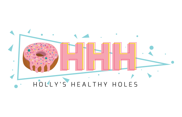 A pink frosted donut next to HHH within a triangle with confetti around it. The text Holly's Healthy Holes underneath.