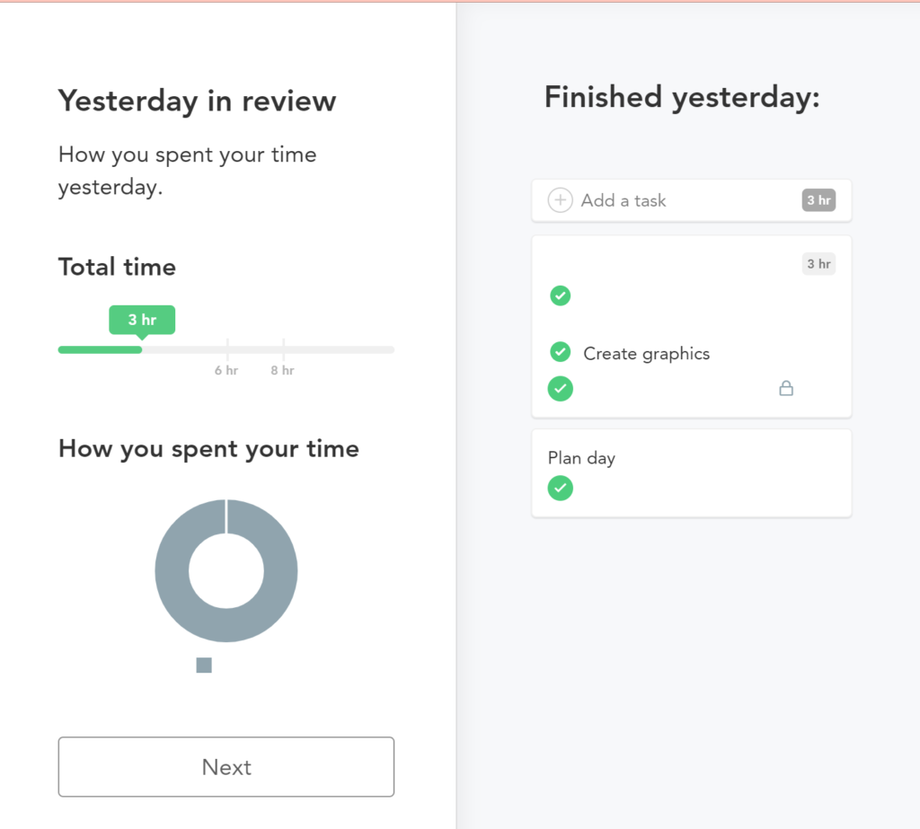 "Shows the screen for Sunsama's ""yesterday in review"". Listing time spent yesterday with a pie graphs on the left. On the right, the task completed yesterday."