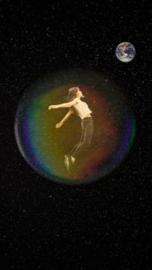 Female Figure floating in a bubble against a black starry sky, with Earth in the distance